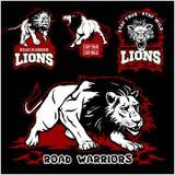 Таможня львов едет на автомобиле логотип вектора футболки клуба на темной предпосылке Дикие животные - комплект вектора иллюстрация штока