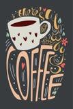 Там комната ` s всегда для иллюстрации вектора кофе красочный плакат оформления литерности с цитатой, чашкой, сердцами, цветками  иллюстрация штока