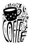 Там комната ` s всегда для иллюстрации вектора кофе черно-белый плакат с цитатой, чашка оформления литерности, сердца, flowe бесплатная иллюстрация