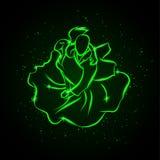 Танго танцев пар Взгляд сверху Иллюстрация вектора зеленая неоновая стоковое изображение