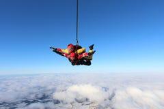 Тандемный skydiving 2 люд в небе стоковое изображение