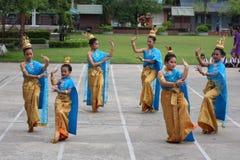 Танец культуры студентов Таиланда Стоковые Фото