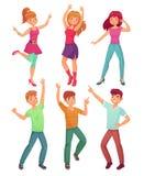 Танец людей шаржа Взрослые люди усмехаясь и танцуя на партии диско Смешной partying комплект иллюстрации вектора персоны Стоковые Изображения RF
