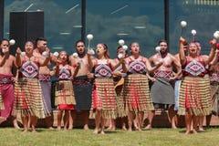 Танец маорийскими женщинами, Новая Зеландия Poi стоковые фотографии rf