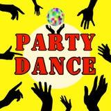 Танец партии предпосылка вручает белизну силуэта иллюстрации Верхний человек лимба Указательный палец Визитные карточки, рогульки Стоковое Изображение