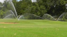 Танец спринклеров воды через зеленые цвета поля для гольфа акции видеоматериалы