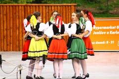 Танец фольклора словака Стоковые Изображения