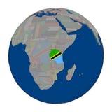 Танзания на политическом глобусе Стоковые Фотографии RF