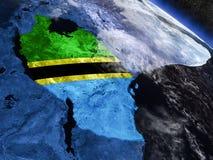 Танзания с врезанным флагом от космоса Стоковое Фото