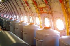 Танки с водой на иллюминаторах, для контрольных учебных полетов в прототипах воздушных судн Стоковое Изображение RF