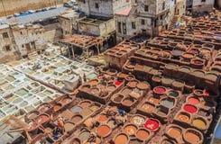 Танки дубильни в Fes, Марокко Стоковая Фотография