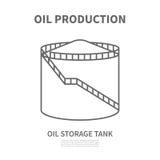 Танк нефтехранилища в линейном стиле Иллюстрация Vtctor Стоковая Фотография