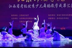 Танца ` s детей испытания белой академии танца Пекина павлина сортируя выставка Цзянси достижения выдающего уча стоковые изображения