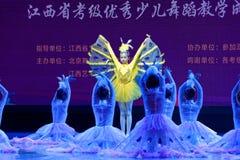 Танца ` s детей испытания белой академии танца Пекина павлина сортируя выставка Цзянси достижения выдающего уча стоковая фотография