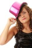 танцовщица пинка шлема девушки диско сексуальная светя Стоковые Изображения