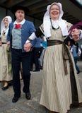 Танцоры бретонца на фестивале Celtic лотка Стоковое Изображение RF