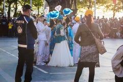 Танцоры казаха фольклорные на день ` s национального суверенитета и детей - Турция Стоковая Фотография