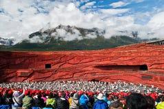 Танцоры на впечатлении Lijiang Стоковое фото RF