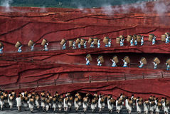 Танцоры на впечатлении Lijiang Стоковые Изображения RF