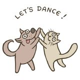 Танцоры собаки и кошки шаржа также вектор иллюстрации притяжки corel Стоковая Фотография RF