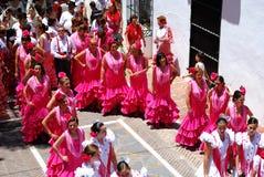 Танцоры фламенко в улице, Марбелье Стоковая Фотография