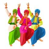 Танцоры Bhangra в национальной ткани vector иллюстрация изолированная на белизне иллюстрация вектора