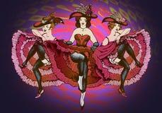 Танцоры Cancan иллюстрация вектора