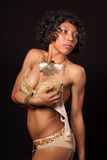 танцор бюстгальтера бурлескный ее удерживание Стоковое Изображение RF