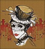 Танцор кабара Французская ретро женщина винтажная женщина в высокой черной шляпе Стиль кабара смогите законсервировать Стоковая Фотография RF