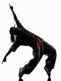 Танцор пролома тазобедренного хмеля циркаческий breakdancing силуэт молодого человека Стоковое Фото