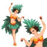 Танцор самбы женщины масленица rio также вектор иллюстрации притяжки corel Стоковая Фотография RF