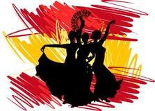 танцор танцует испанские языки иллюстрации девушки flamenco вентилятора иллюстрация штока