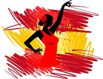 танцор танцует испанские языки иллюстрации девушки flamenco вентилятора иллюстрация вектора