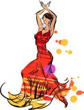 танцор танцует испанские языки иллюстрации девушки flamenco вентилятора Стоковые Фотографии RF