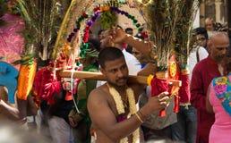 Танцор участвуя в фестивале Ganesh в Париже, Франции Стоковое Фото