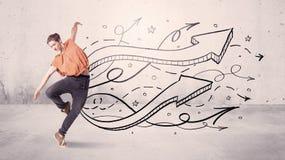 Танцор улицы с стрелками и звездами Стоковые Фото
