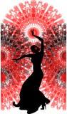 Танцор фламенко на красном вентиляторе Стоковые Фотографии RF