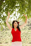 Танцор фламенко танцуя Outdoors Стоковое Изображение RF