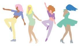 Танцуя люди изолированные на белой предпосылке Партия Новый Год бесплатная иллюстрация