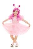 танцуя пинк волос девушки платья Стоковое Фото