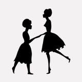 танцуя силуэты людей ярлыка универсальные иллюстрация штока