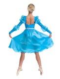 Танцы артиста балета балерины молодой женщины на белой предпосылке Стоковая Фотография