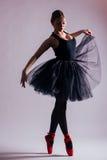 Танцы артиста балета балерины молодой женщины с балетной пачкой в силуэте Стоковое Изображение RF