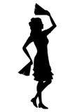 Танцы девушки силуэта с вентиляторами Стоковые Изображения RF