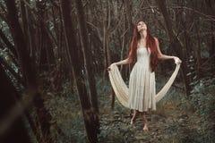 Танцы женщины в секретном лесе Стоковые Фотографии RF