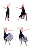Танцы женщины изолированные на белизне Стоковое Изображение RF