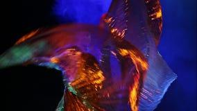 Танцы женщины с золотыми крылами сток-видео