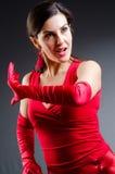 Танцы женщины танцуют в красном платье Стоковое фото RF