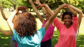 Танцы класса Zumba в парке сток-видео