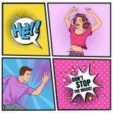 Танцы молодой женщины и человека искусства шипучки Excited подростки Плакат клуба диско винтажный, пузырь речи плаката музыки шут бесплатная иллюстрация